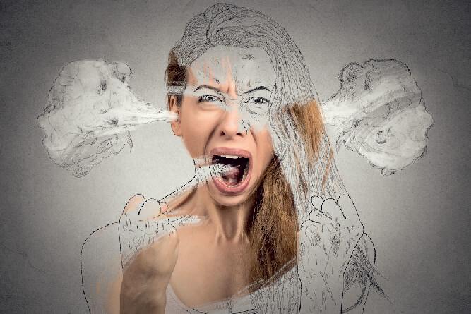 Unzufrieden mit dem Leben Frau ist deswegen wütend